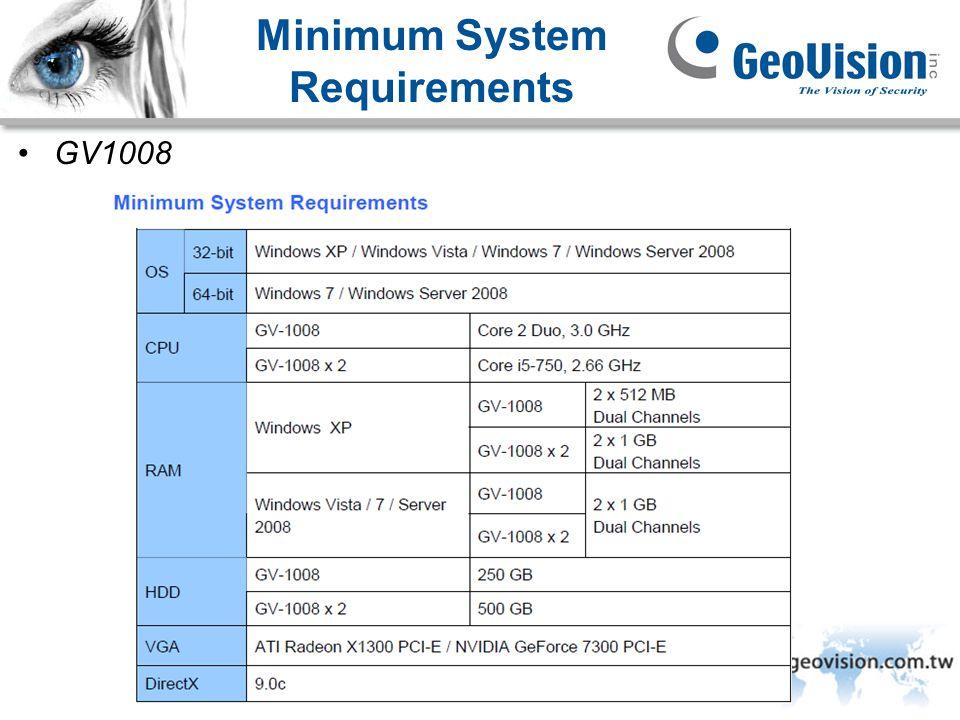 GeoVision Inc. Minimum System Requirements GV1008