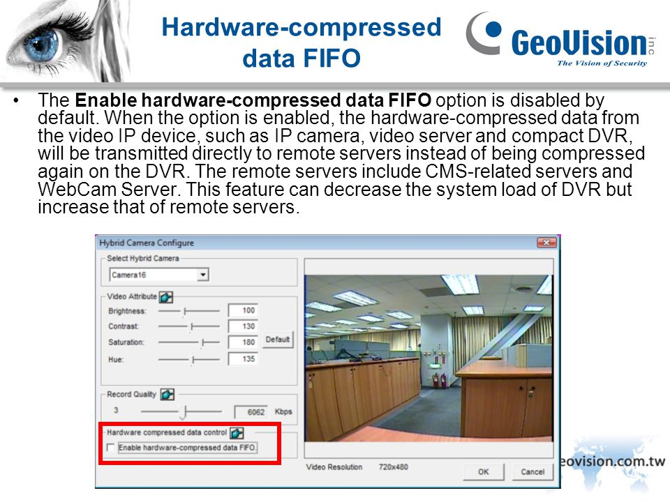 GeoVision Inc. Hardware-compressed data FIFO The Enable hardware-compressed data FIFO option is disabled by default. When the option is enabled, the h