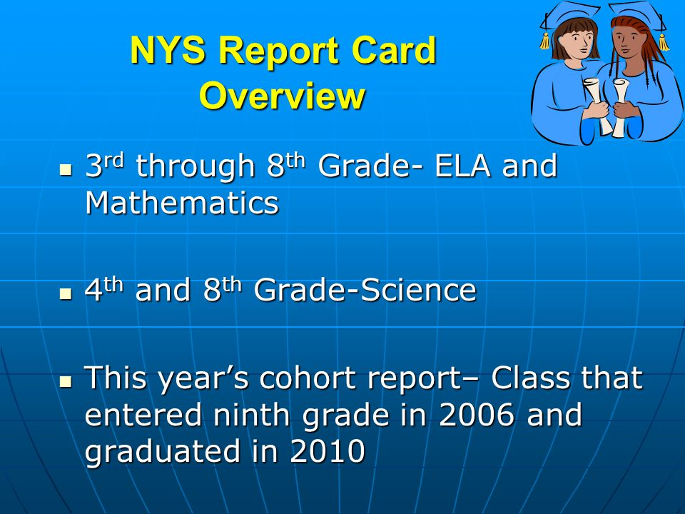 NYS Report Card Overview 3 rd through 8 th Grade- ELA and Mathematics 3 rd through 8 th Grade- ELA and Mathematics 4 th and 8 th Grade-Science 4 th and 8 th Grade-Science This years cohort report– Class that entered ninth grade in 2006 and graduated in 2010 This years cohort report– Class that entered ninth grade in 2006 and graduated in 2010