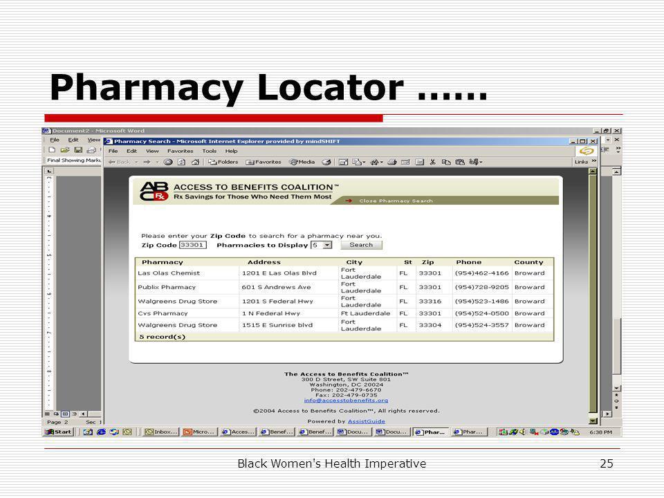Black Women s Health Imperative25 Pharmacy Locator ……