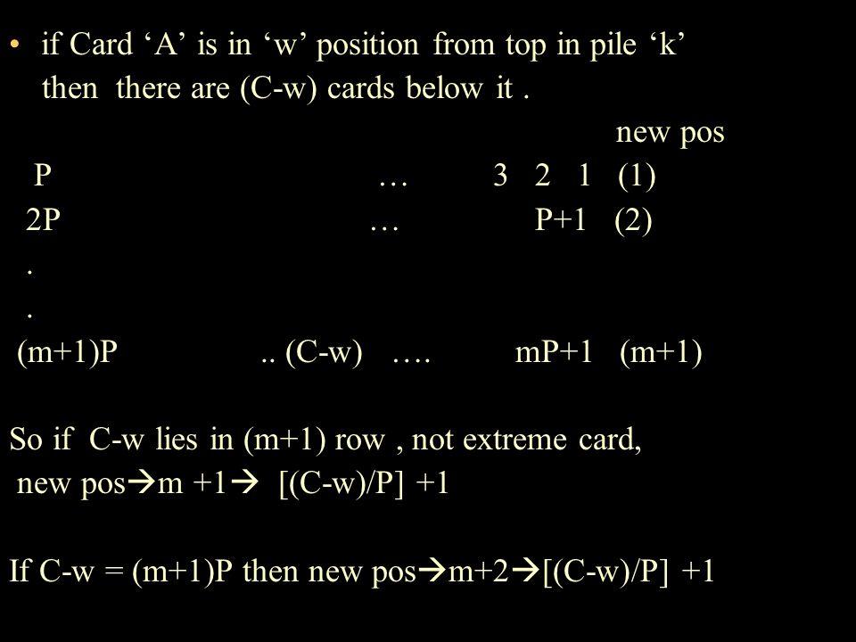 FUNCTION DEFINITION f : {1,2,…C} {1,2….C} such that f(w) = [( C– w)/P]+1