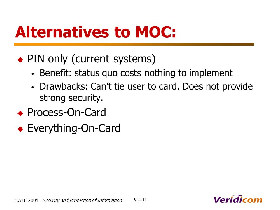 Slide 11 CATE 2001 - Security and Protection of Information Alternatives to MOC: PIN only (current systems) Benefit: status quo costs nothing to implement Drawbacks: Cant tie user to card.
