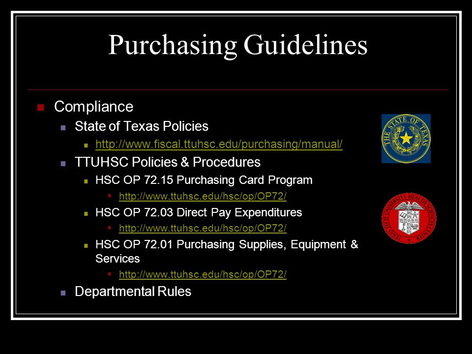 Placing an Order with a P-Card Ordering Methods Telephone Fax Internet (Print screen for proof of purchase for documentation) Itemized Invoices Required Ask vendor for an itemized invoice Sales tax (State of Texas) on an invoice must be credited by the vendor or personally reimbursed to TTUHSC.