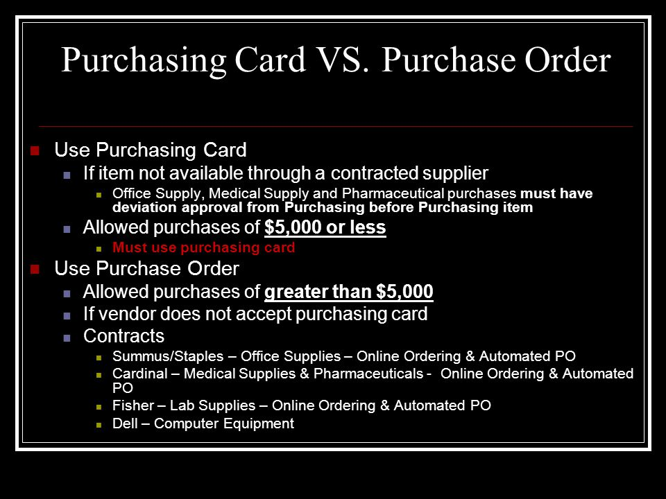 Placing an Order (Cont.) Departmental Reference Number Request vendor to use the form CCStop _ _ _ _ Last Name for the reference number CC means Credit Card Stop _ _ _ _ is the departmental mail stop Or RM _ _ _ _ for Amarillo, El Paso or Odessa Last Name is the credit card holders last name