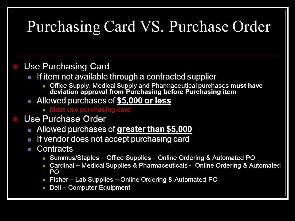 Purchasing Card VS.