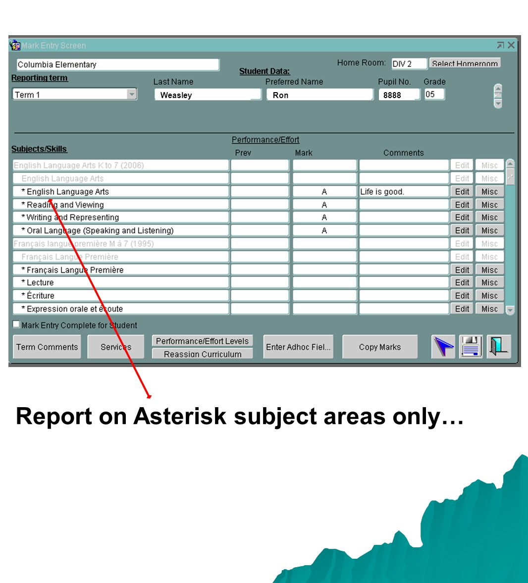 Report on Asterisk subject areas only… WeasleyRon8888