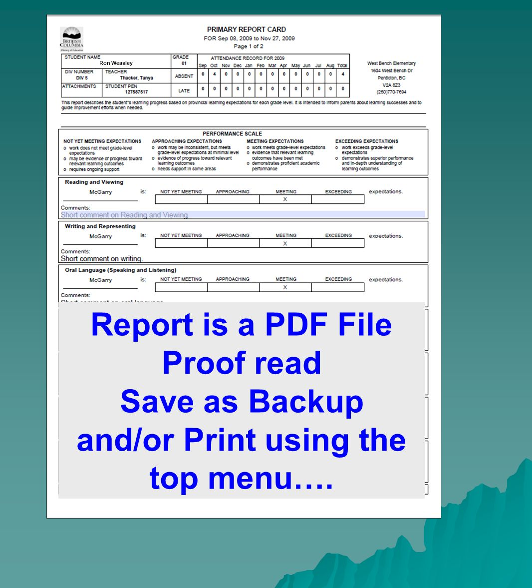 Ron Weasley Report is a PDF File Proof read Save as Backup and/or Print using the top menu….