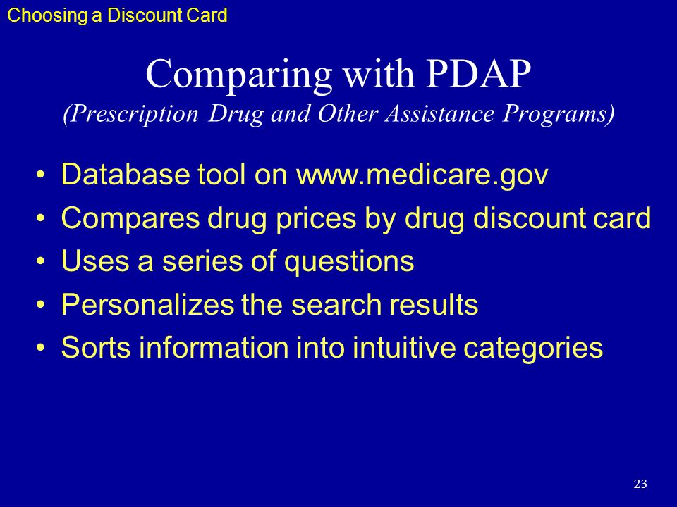 23 Comparing with PDAP (Prescription Drug and Other Assistance Programs) Database tool on www.medicare.gov Compares drug prices by drug discount card Uses a series of questions Personalizes the search results Sorts information into intuitive categories Choosing a Discount Card