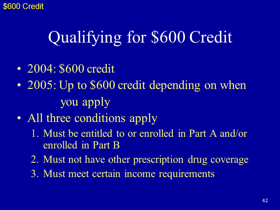 42 Qualifying for $600 Credit 2004: $600 credit 2005: Up to $600 credit depending on when you apply All three conditions apply 1.Must be entitled to or enrolled in Part A and/or enrolled in Part B 2.Must not have other prescription drug coverage 3.Must meet certain income requirements $600 Credit