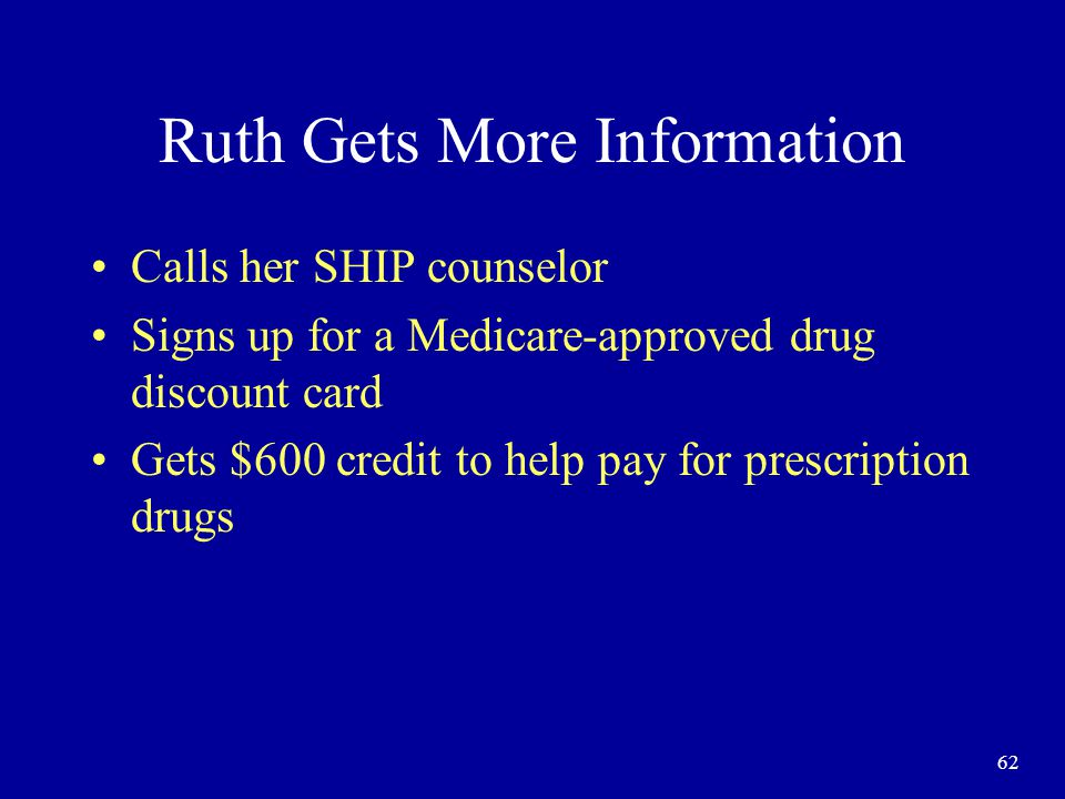 62 Ruth Gets More Information Calls her SHIP counselor Signs up for a Medicare-approved drug discount card Gets $600 credit to help pay for prescription drugs