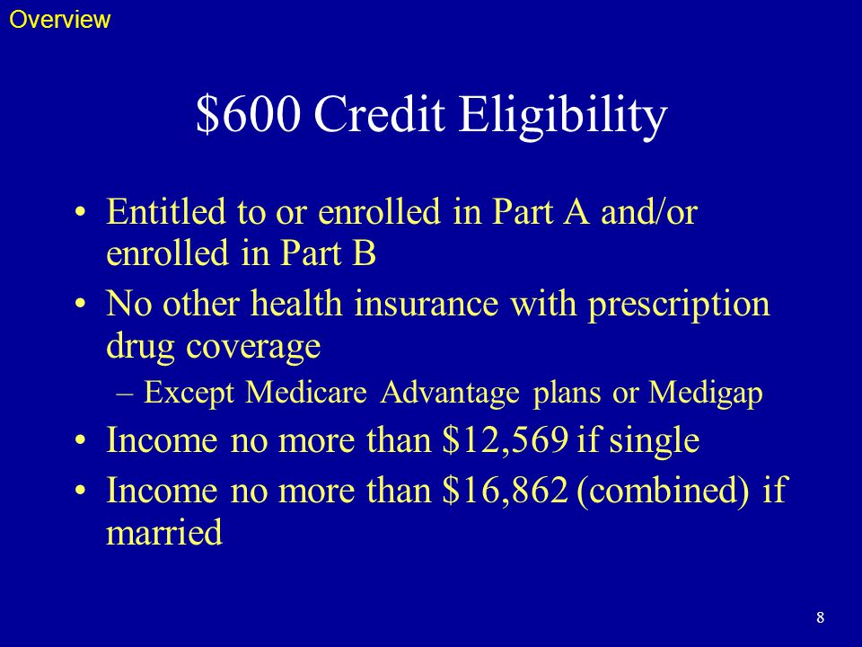 8 $600 Credit Eligibility Entitled to or enrolled in Part A and/or enrolled in Part B No other health insurance with prescription drug coverage –Except Medicare Advantage plans or Medigap Income no more than $12,569 if single Income no more than $16,862 (combined) if married Overview