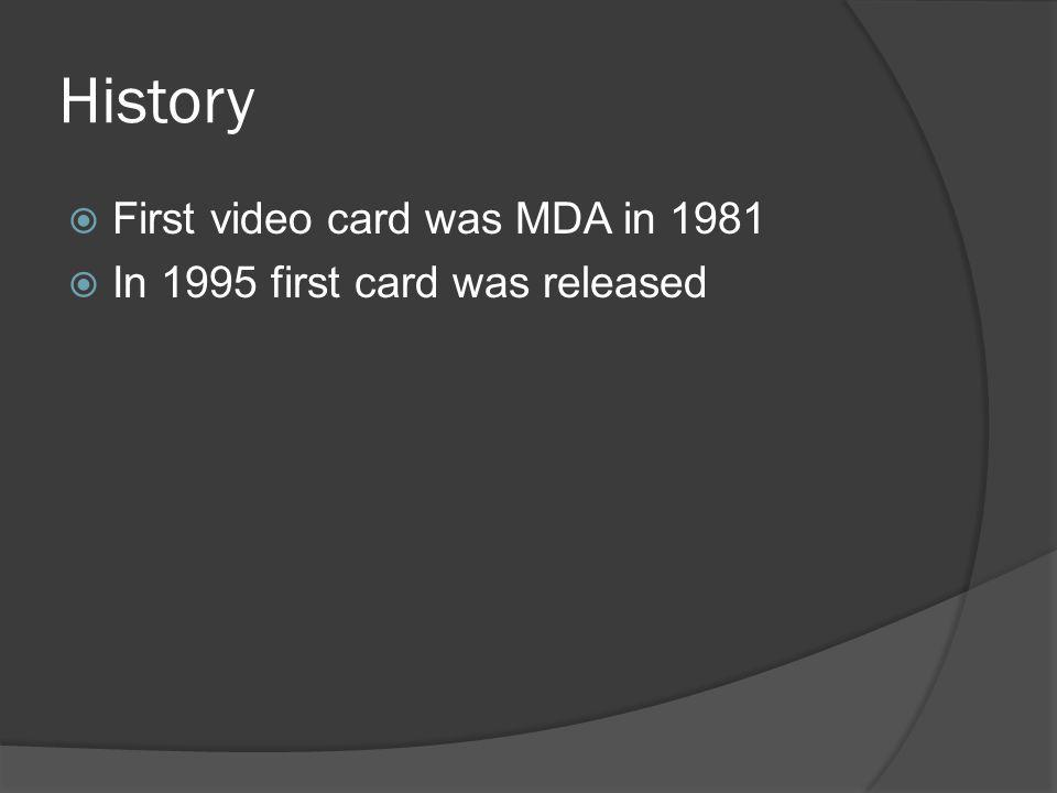 History First video card was MDA in 1981 In 1995 first card was released