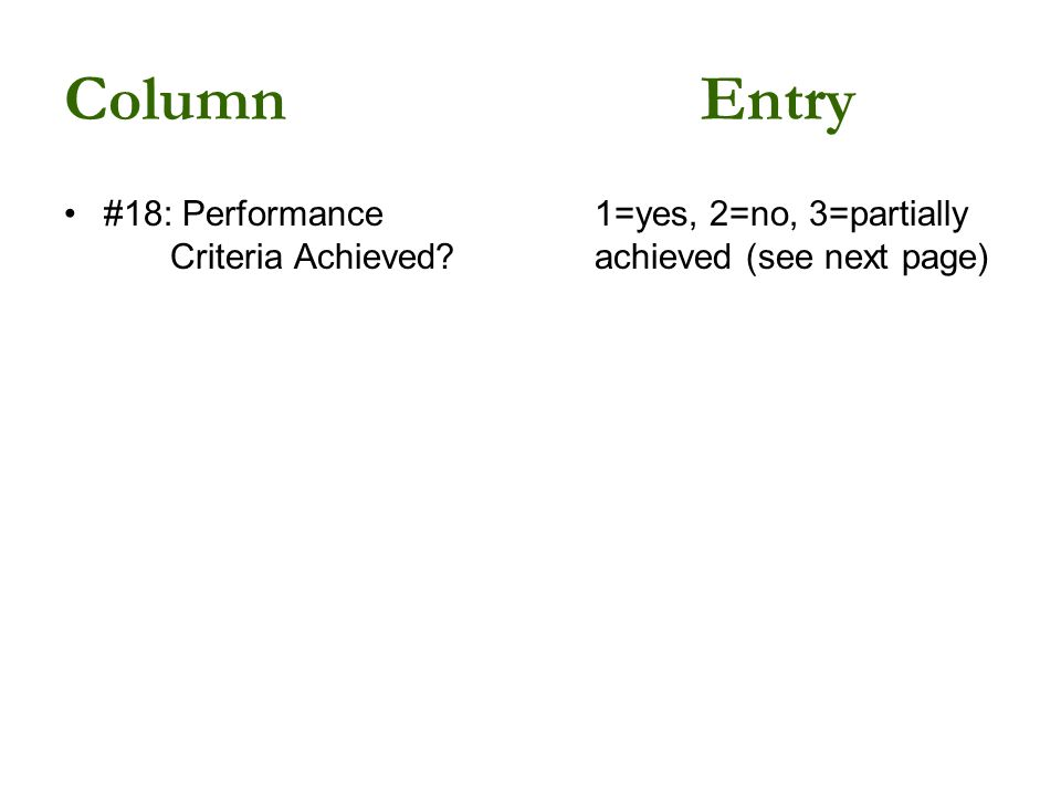 ColumnEntry #18: Performance1=yes, 2=no, 3=partially Criteria Achieved achieved (see next page)