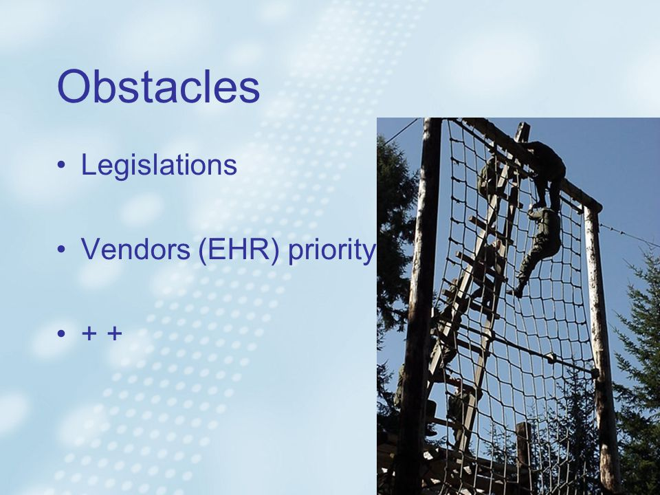 Obstacles Legislations Vendors (EHR) priority +