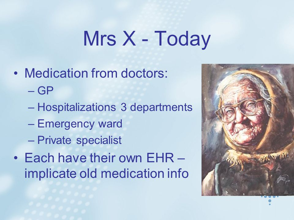 Mrs X - Today Medication from doctors: –GP –Hospitalizations 3 departments –Emergency ward –Private specialist Each have their own EHR – implicate old medication info