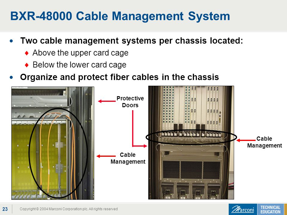 Copyright © 2004 Marconi Corporation plc. All rights reserved 23 BXR-48000 Cable Management System Two cable management systems per chassis located: A