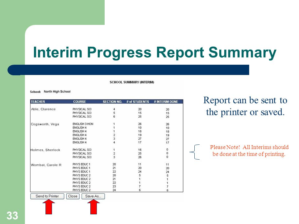 33 Interim Progress Report Summary Report can be sent to the printer or saved.