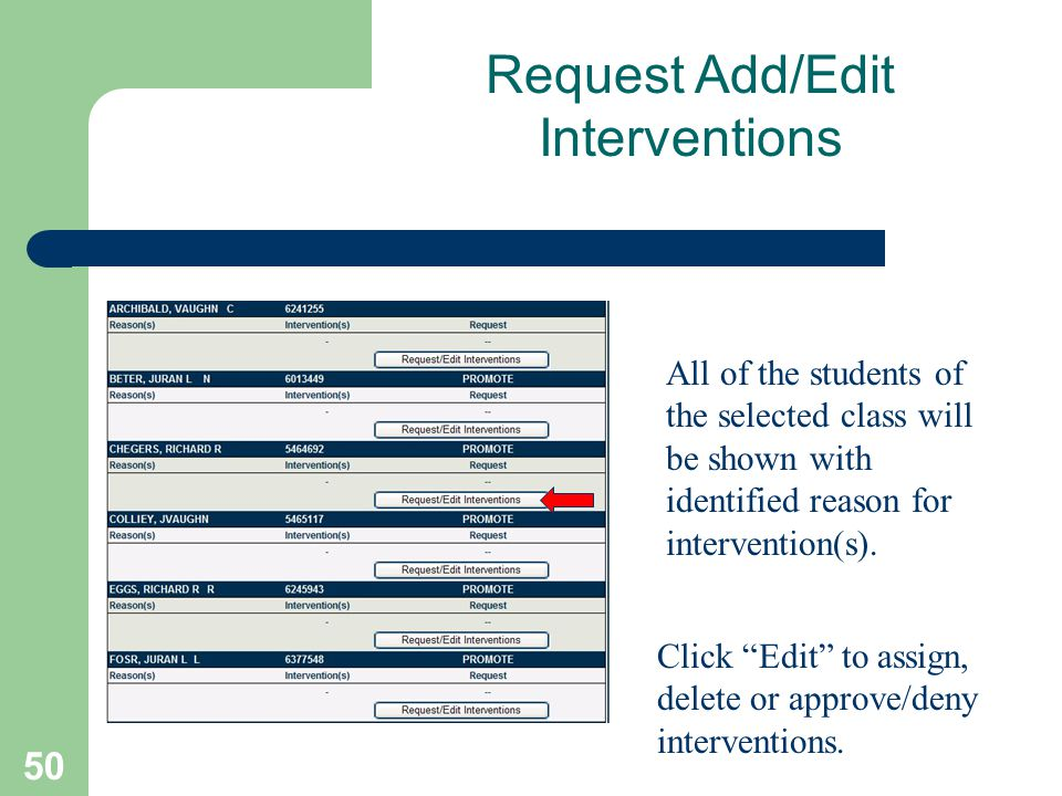 50 All of the students of the selected class will be shown with identified reason for intervention(s). Click Edit to assign, delete or approve/deny in