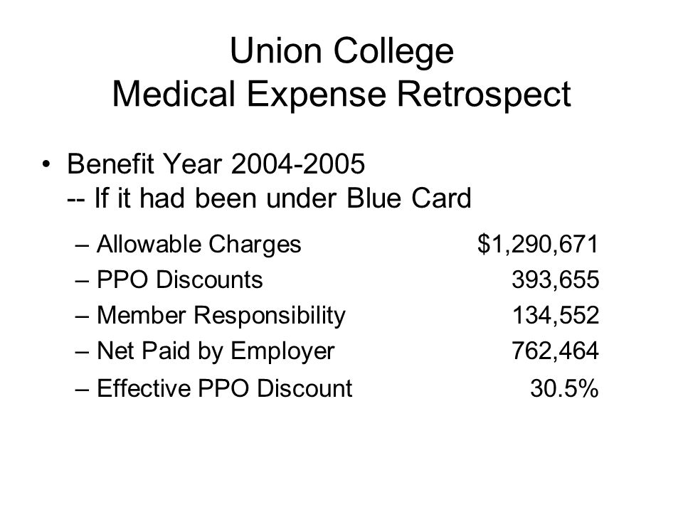 Union College Medical Expense Retrospect Benefit Year 2004-2005 -- If it had been under Blue Card –Allowable Charges $1,290,671 –PPO Discounts 393,655 –Member Responsibility 134,552 –Net Paid by Employer 762,464 –Effective PPO Discount30.5%