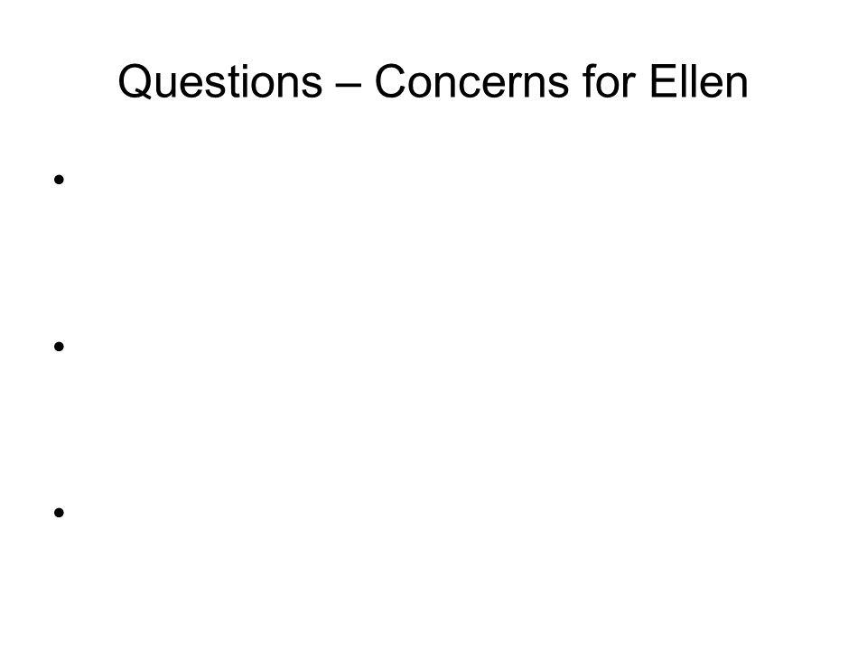 Questions – Concerns for Ellen