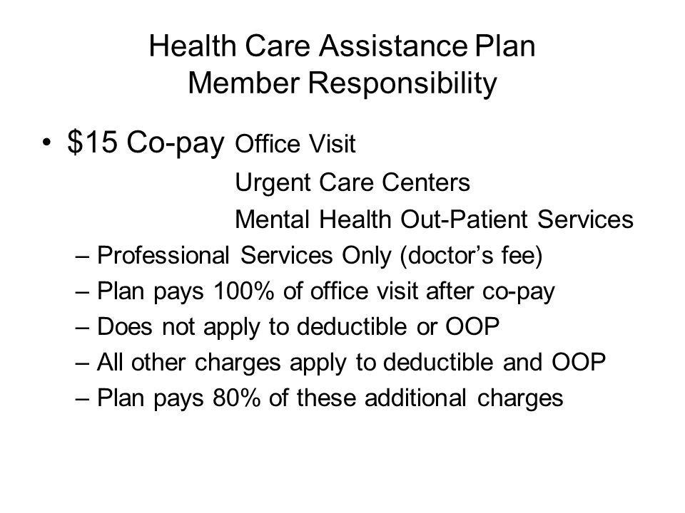 Health Care Assistance Plan Member Responsibility $15 Co-pay Office Visit Urgent Care Centers Mental Health Out-Patient Services –Professional Service