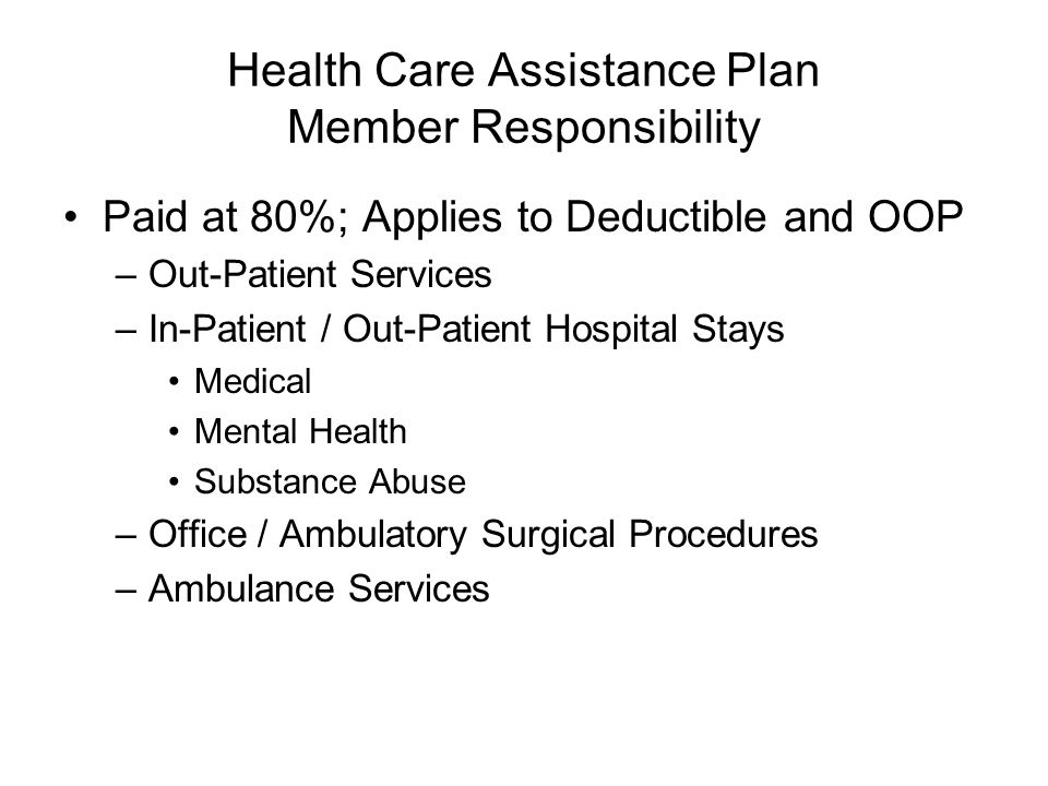 Health Care Assistance Plan Member Responsibility Paid at 80%; Applies to Deductible and OOP –Out-Patient Services –In-Patient / Out-Patient Hospital