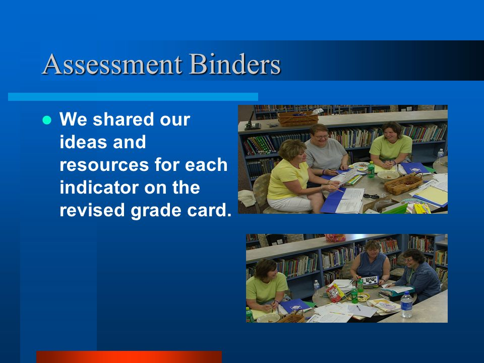 Assessment Binders We shared our ideas and resources for each indicator on the revised grade card.