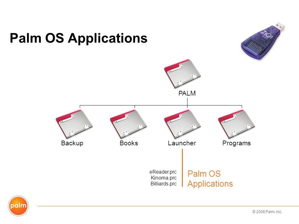 © 2006 Palm, Inc. eReader.prc Kinoma.prc Billiards.prc Palm OS Applications BackupBooksLauncherPrograms PALM