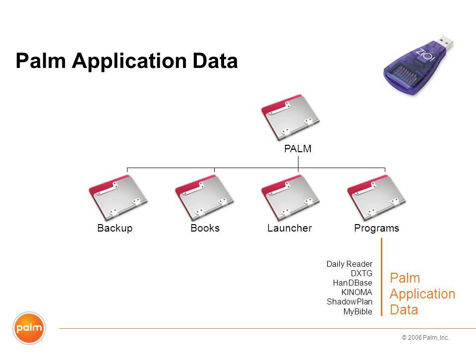 © 2006 Palm, Inc. Daily Reader DXTG HanDBase KINOMA ShadowPlan MyBible Palm Application Data BackupBooksLauncherPrograms PALM
