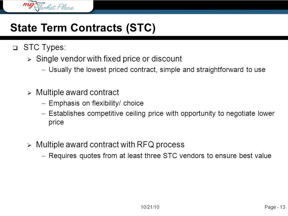 STC Types: Single vendor with fixed price or discount Usually the lowest priced contract, simple and straightforward to use Multiple award contract Em