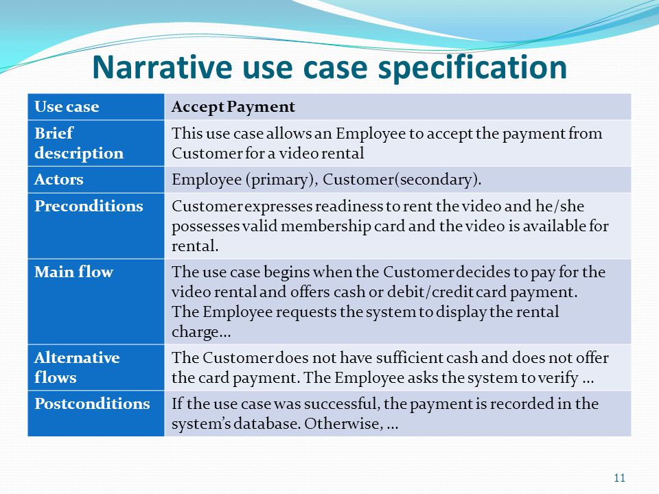 Narrative use case specification Use caseAccept Payment Brief description This use case allows an Employee to accept the payment from Customer for a v