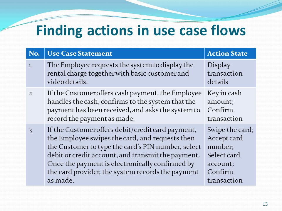 13 Finding actions in use case flows No.Use Case StatementAction State 1The Employee requests the system to display the rental charge together with ba
