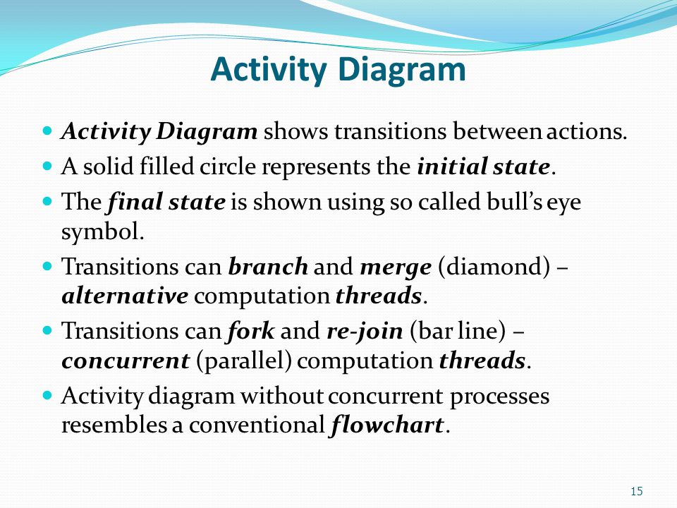 Activity Diagram Activity Diagram shows transitions between actions. A solid filled circle represents the initial state. The final state is shown usin