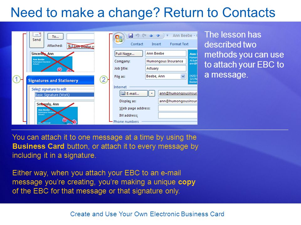 Create and Use Your Own Electronic Business Card Need to make a change.