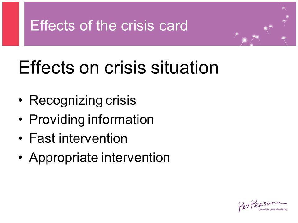 Effects on crisis situation Recognizing crisis Providing information Fast intervention Appropriate intervention Effects of the crisis card