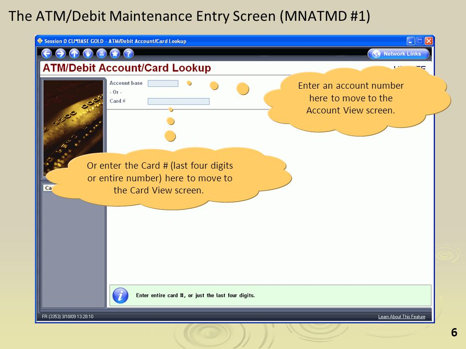 37 Question 6: How do I close a card.From the Account View screen use the Close option.
