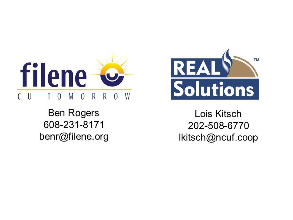 Ben Rogers 608-231-8171 benr@filene.org Lois Kitsch 202-508-6770 lkitsch@ncuf.coop