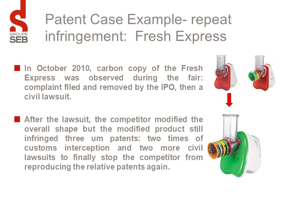 Patent Case Example- repeat infringement: Fresh Express In October 2010, carbon copy of the Fresh Express was observed during the fair: complaint file