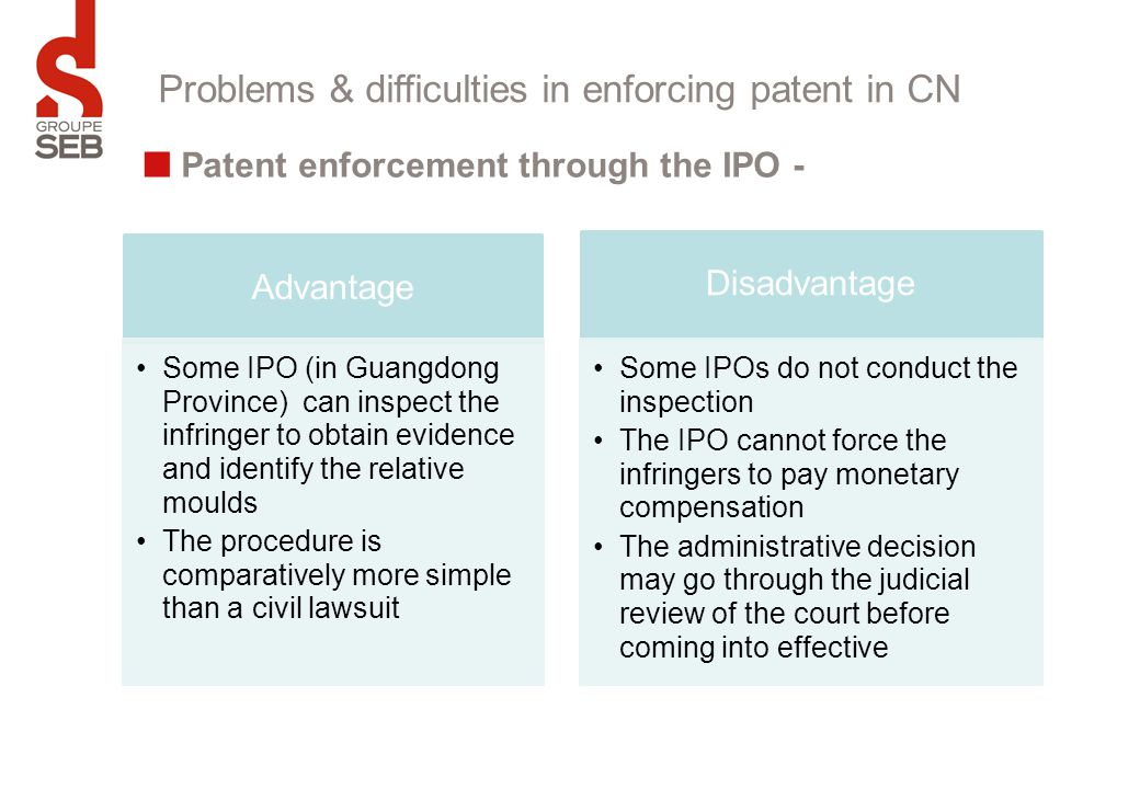 Problems & difficulties in enforcing patent in CN Patent enforcement through the IPO - Advantage Some IPO (in Guangdong Province) can inspect the infr