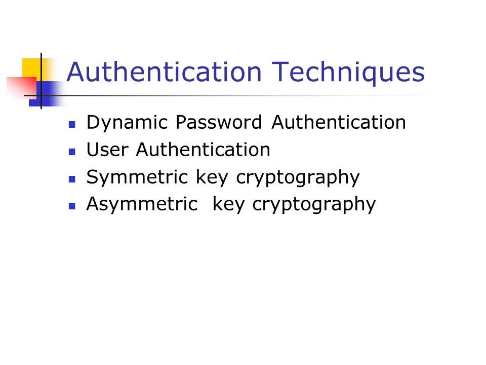 Authentication Techniques Dynamic Password Authentication User Authentication Symmetric key cryptography Asymmetric key cryptography