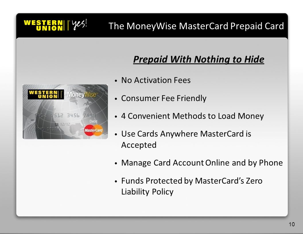 Agenda Prepaid With Nothing to Hide No Activation Fees Consumer Fee Friendly 4 Convenient Methods to Load Money Use Cards Anywhere MasterCard is Accepted Manage Card Account Online and by Phone Funds Protected by MasterCards Zero Liability Policy The MoneyWise MasterCard Prepaid Card 10