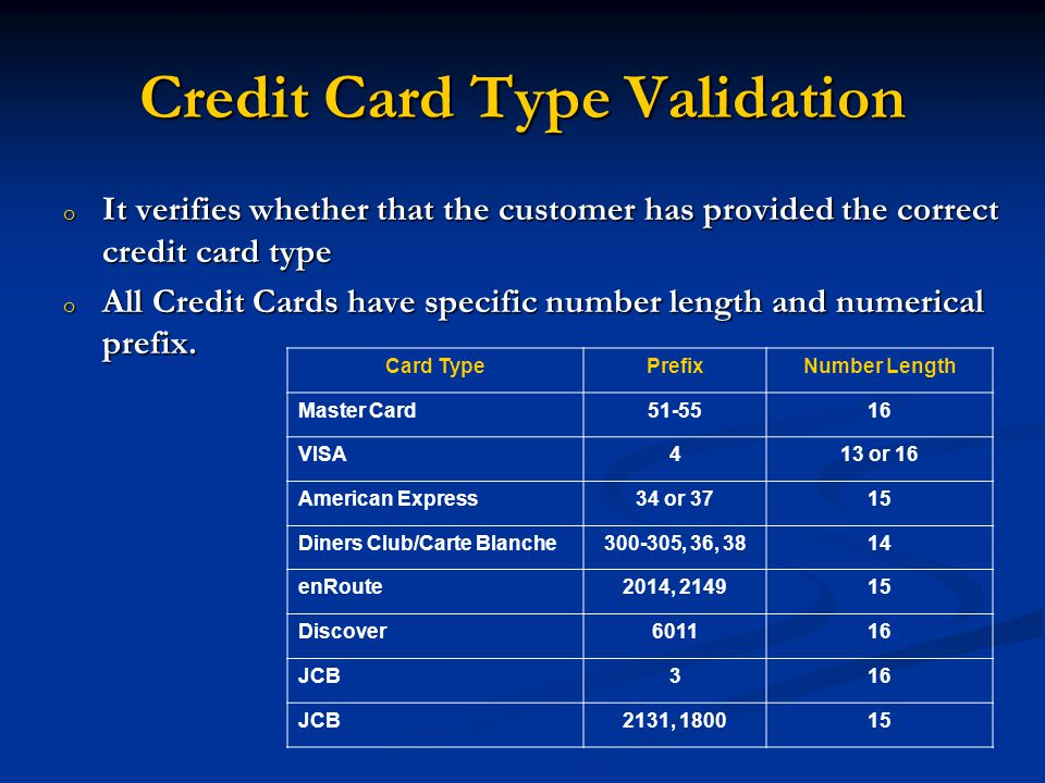o It verifies whether that the customer has provided the correct credit card type o All Credit Cards have specific number length and numerical prefix.