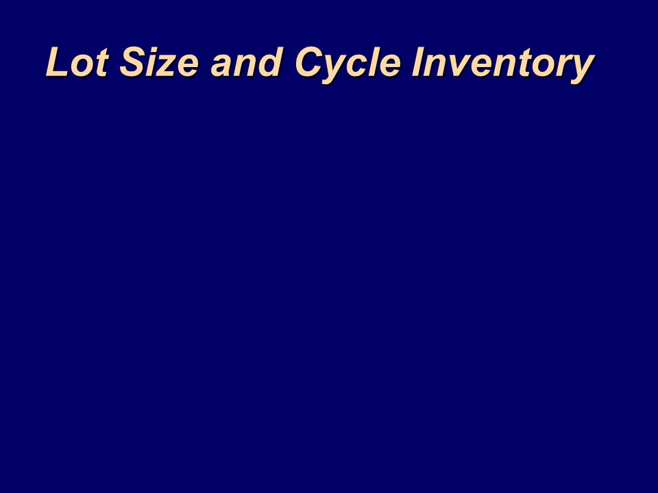 Lot Size and Cycle Inventory