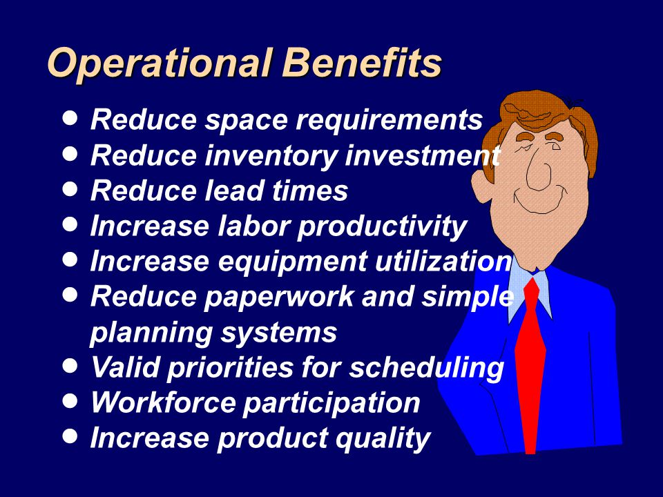 Operational Benefits Reduce space requirements Reduce inventory investment Reduce lead times Increase labor productivity Increase equipment utilizatio