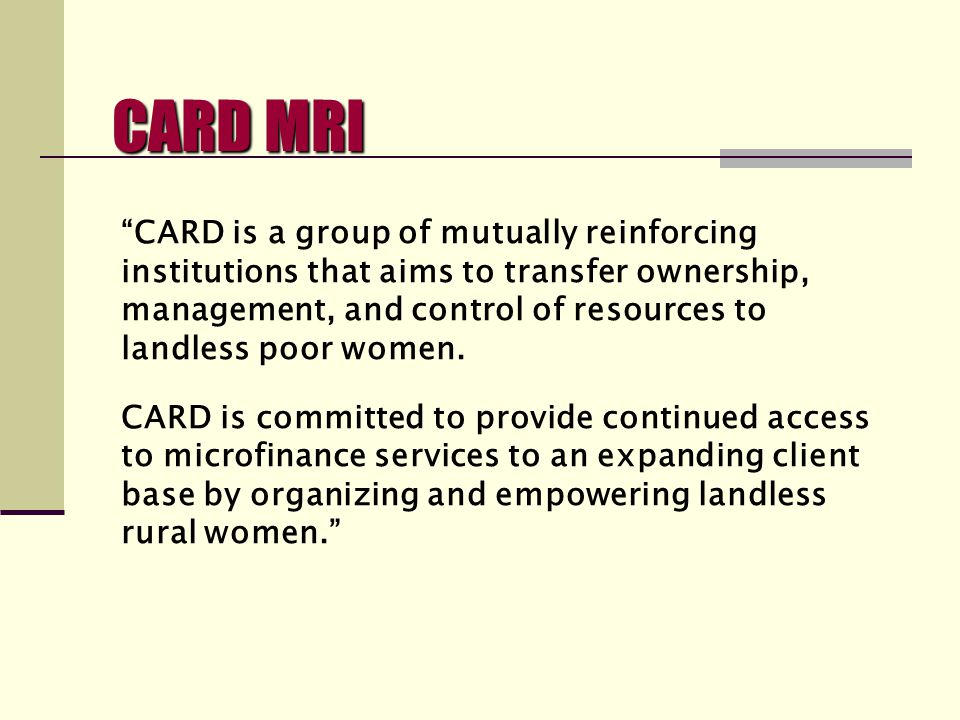 CARD Banks Vision for an Individual Loan Product by Dr.
