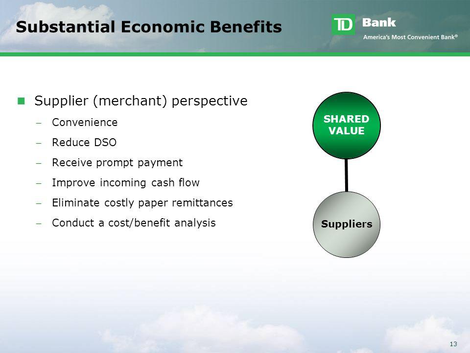 13 Substantial Economic Benefits Supplier (merchant) perspective ̶ Convenience ̶ Reduce DSO ̶ Receive prompt payment ̶ Improve incoming cash flow ̶ El