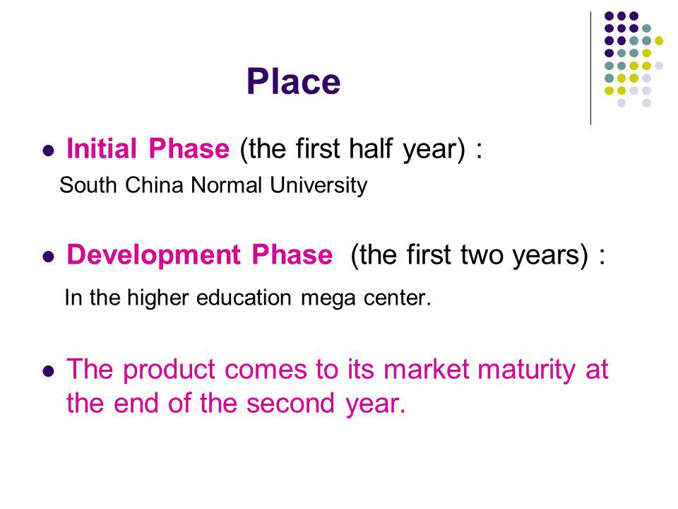 Place Initial Phase (the first half year) South China Normal University Development Phase (the first two years) In the higher education mega center.