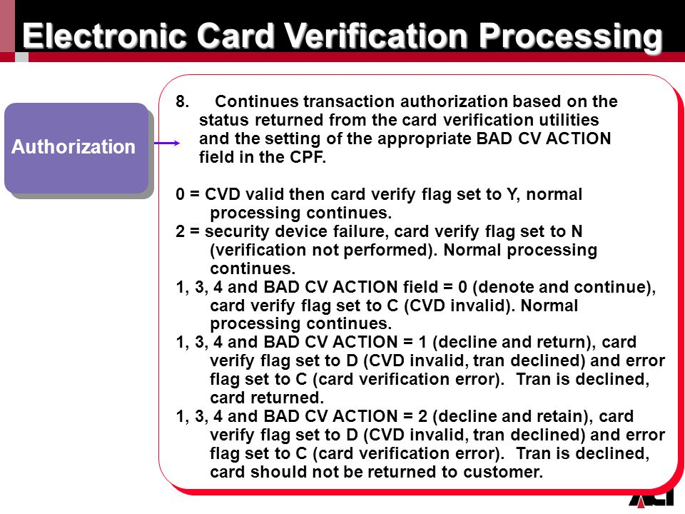 Click to edit Master title style Electronic Card Verification Processing Authorization 8. 8. Continues transaction authorization based on the status r