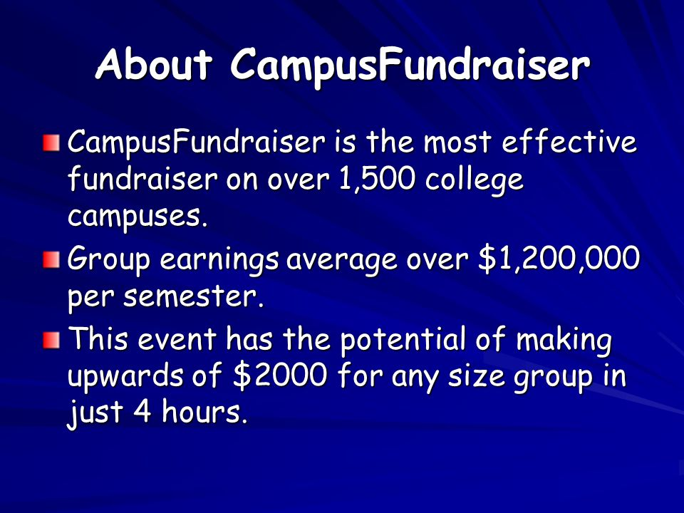 About CampusFundraiser CampusFundraiser is the most effective fundraiser on over 1,500 college campuses. Group earnings average over $1,200,000 per se