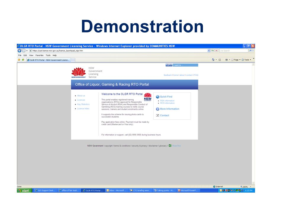 Demonstration CTO portal for scheduling & lodging courses.